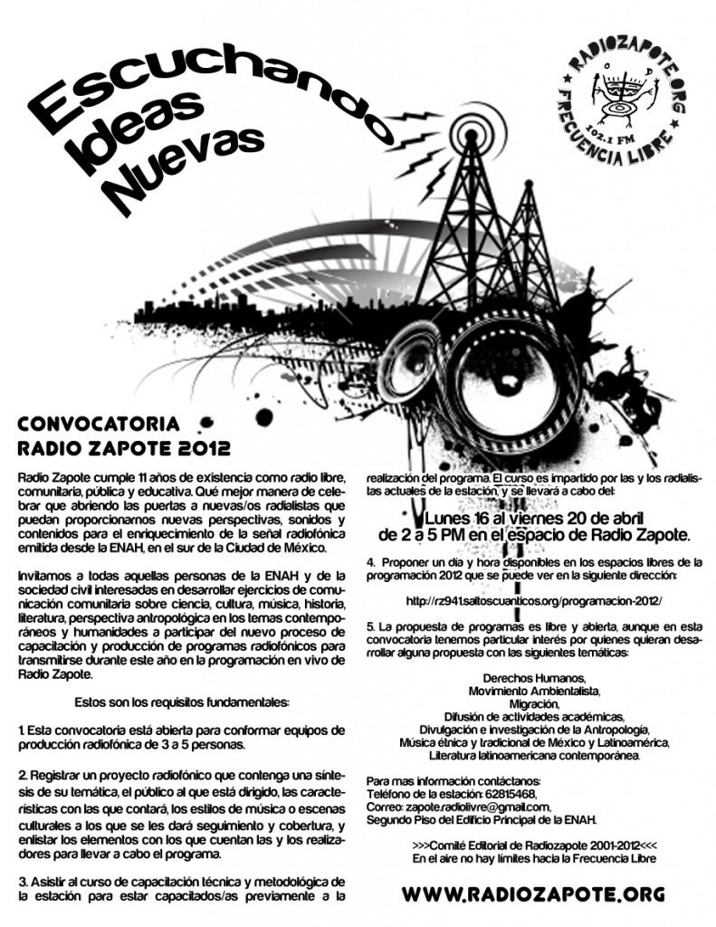 Convocatoria Radio Zapote 2012: Escuchando ideas nuevas
