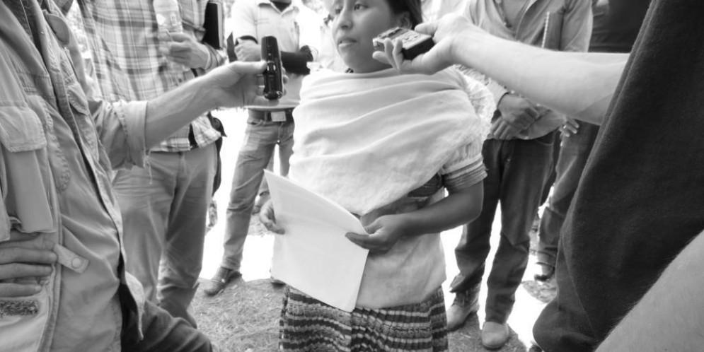 """""""Quiero regresar lo más pronto posible a mi casa, porque quiero que mi bebé nazca bien"""", indígena tojolabal desplazada en Chiapas."""