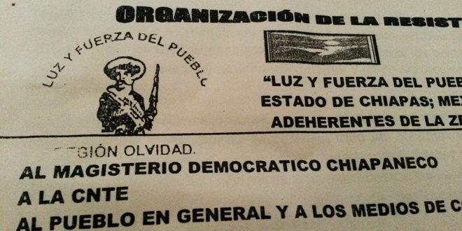 """""""CNTE, No se rindan"""", mensaje de Luz y Fuerza del Pueblo, al movimiento magisterial en Chiapas"""