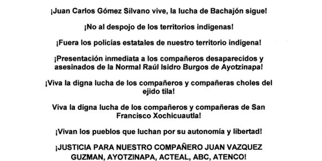 comunicado bachajón marzo 2017