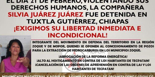 Chiapas: Exigen la liberación inmediata de la defensora comunitaria Silvia Juárez Juárez