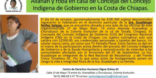 Pronunciamiento del CNI por el allanamiento y robo a la concejala de la Costa de Chiapas